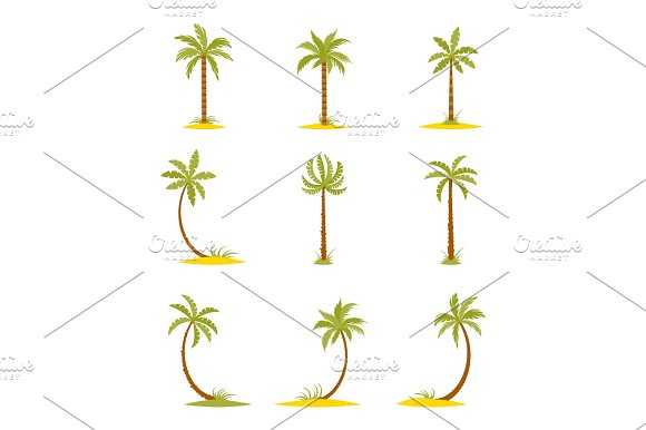 Set Of Colored Palms In A Flat Style