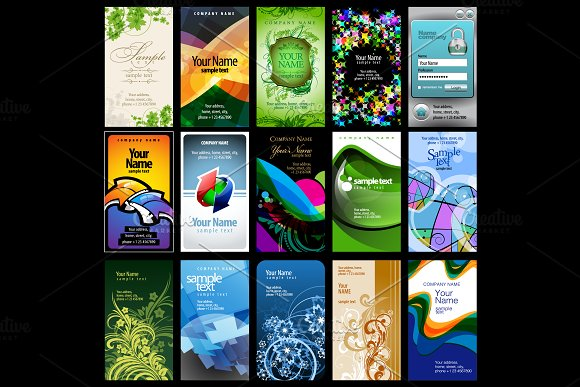 Variety Of 15 Vertic Business Cards