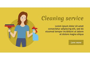 Member of Cleaning Service with Broom and Cleaner.