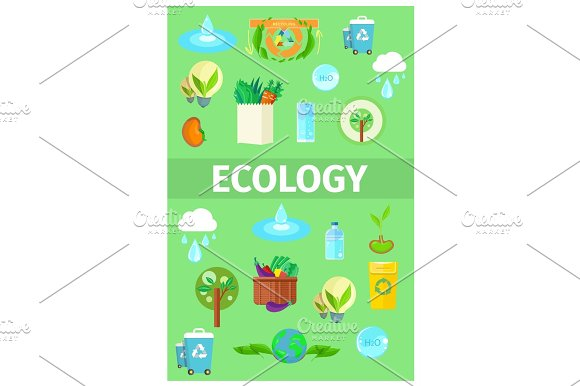 Ecology Poster With Cartoon Recycling Icons Set
