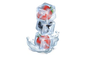 Ice Cubes with Berries One on Another in Water