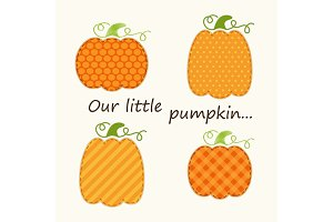 Cute Thanksgiving elements as retro fabric applique in traditional colors