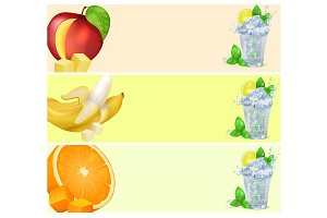 Mojito Glass and Fruits Isolated illustrations