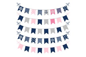 Cute girl nautical bunting clipart