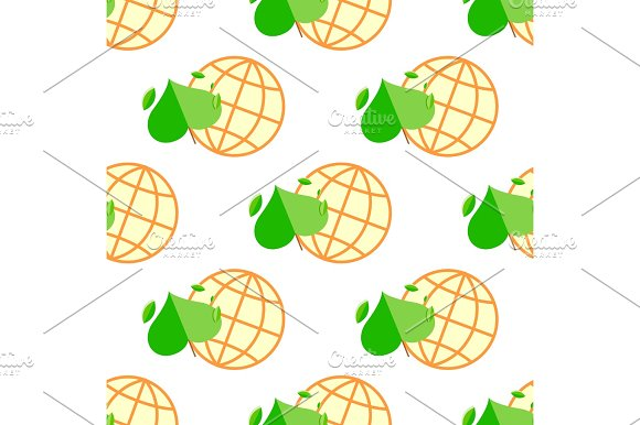 Seamless Pattern With Green Plant And Globe
