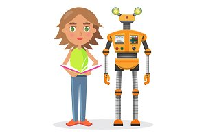 Little Girl with Book and Iron Robot illustration