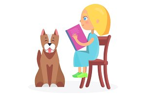 Girl Sitting on Wooden Chair with Book and Pet