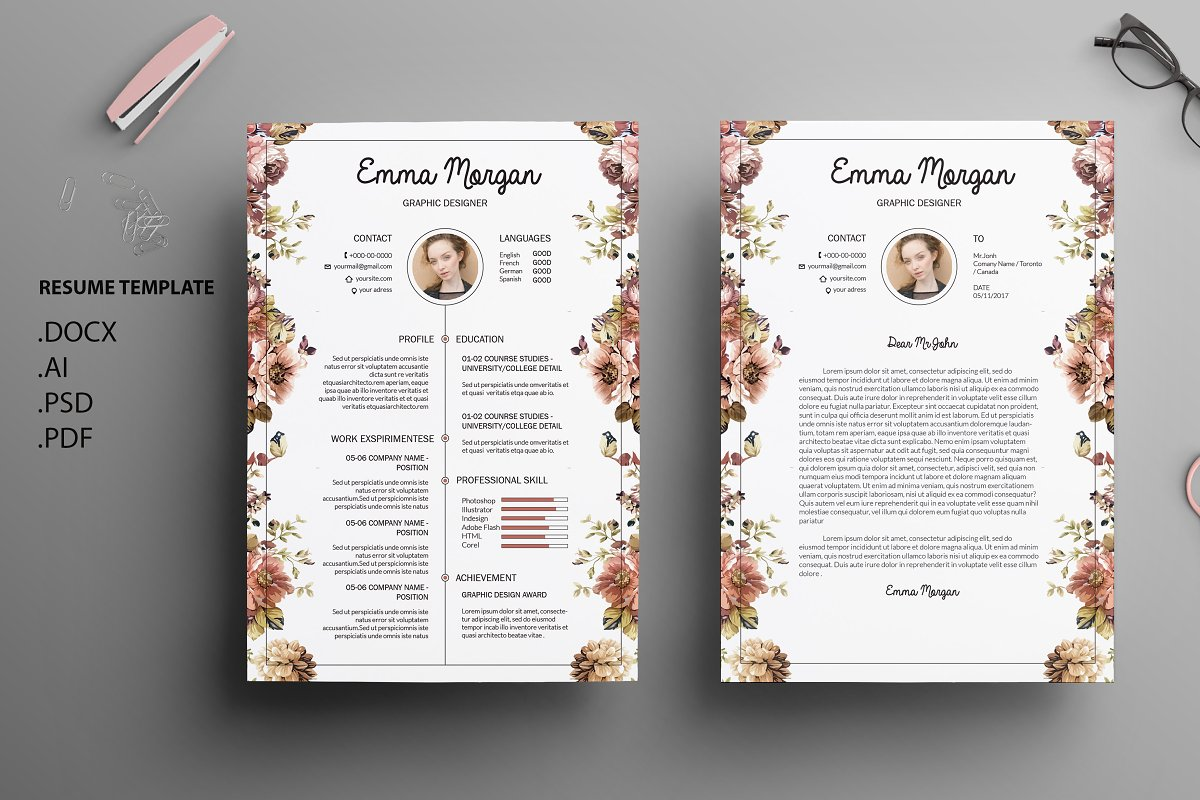Floral Side CV Resume Template M Templates Creative