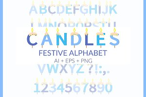 Candles Festive Alphabet Ai Eps Png