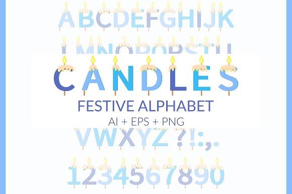 Candles Festive Alphabet Ai Eps Png