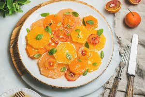 Fresh mixed citrus fruit salad