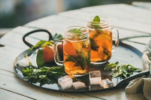 Summer refreshing cold peach ice tea