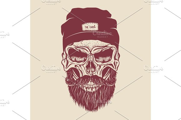 Hipster Skull With Hairstyle Mustache And Beard
