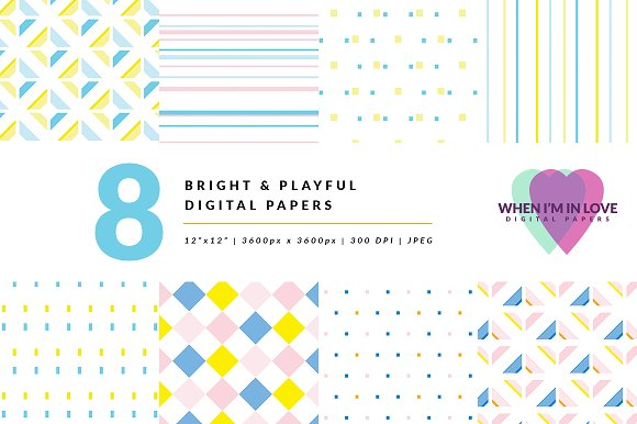 Digital Papers Bright Playful