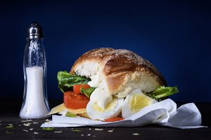 Healthy sandwich with boiled egg