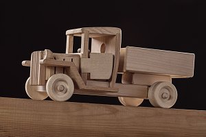 Truck toy made from wood.