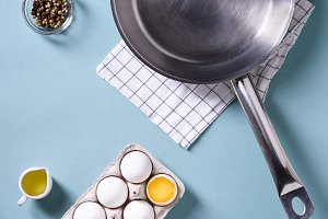 Egg shell and a cooking pan
