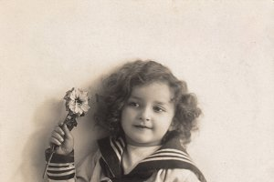 vtg greetings, boy with flowers