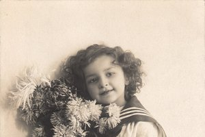vtg greetings, boy with flowers2