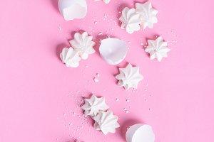 Meringue dessert over pink