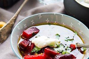 Beetroot vegetarian soup