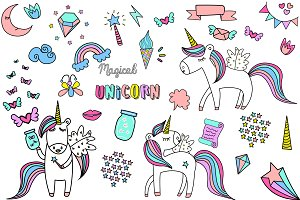 Hand Drawn Unicorn Clipart & Pattern