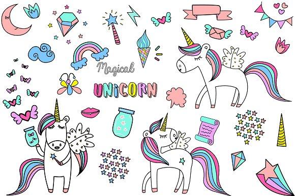 Hand Drawn Unicorn Clipart Pattern