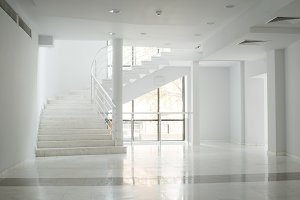 Interior of a building with white wa