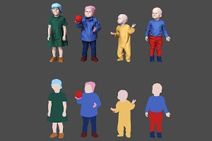 Varicolored Lowpoly Children