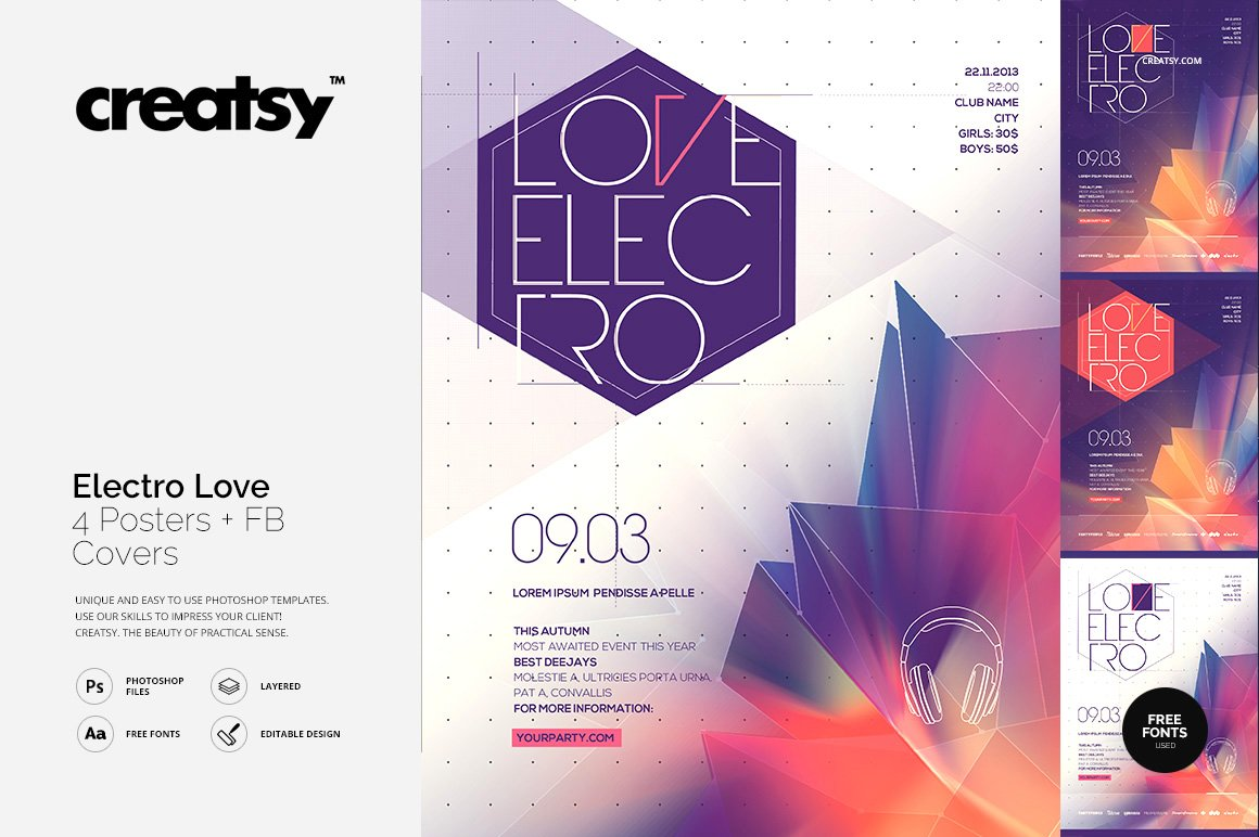 Electro Love 4 Posters & FB Covers ~ Flyer Templates ~ Creative Market