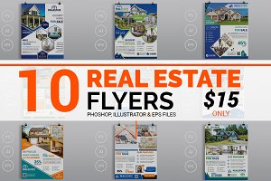 10 Real Estate Flyers Bundle 90% OFF