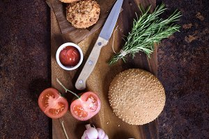 Homemade burger with ingredients