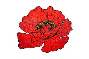 Glitter poppy flower sketched art