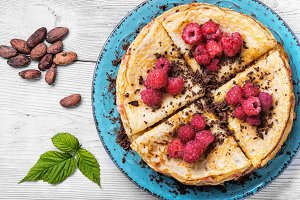 Rural Pancakes with fresh raspberries