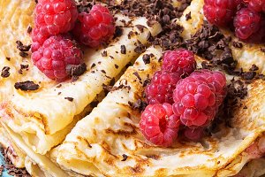 Close up pancakes with berries