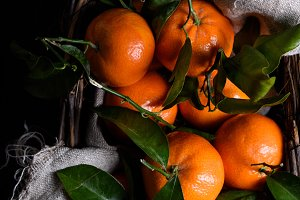 Ripe tangerines, fresh fruits