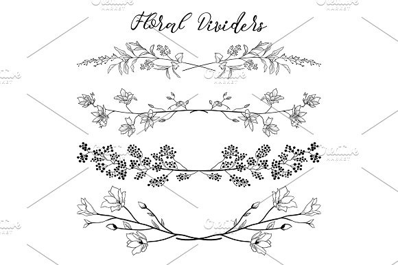Vector Black Dividers With Branches Plants And Flowers