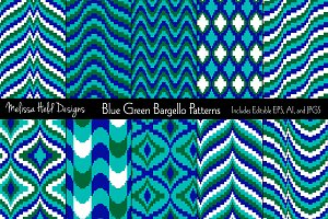 Blue Green Bargello Patterns
