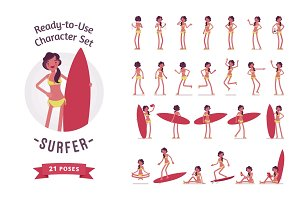 Ready-to-use surfer woman character set, various poses and emotions