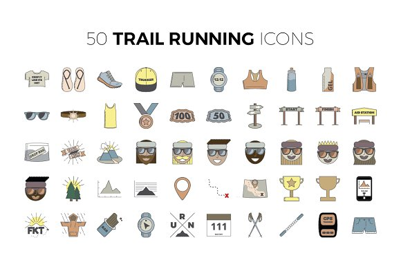 50 Trail Running Icons