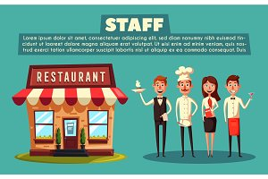 Restaurant team. Cartoon vector illustration.