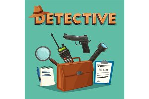Detective tools. Cartoon vector illustration.
