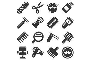 Barber Shop Icons Set