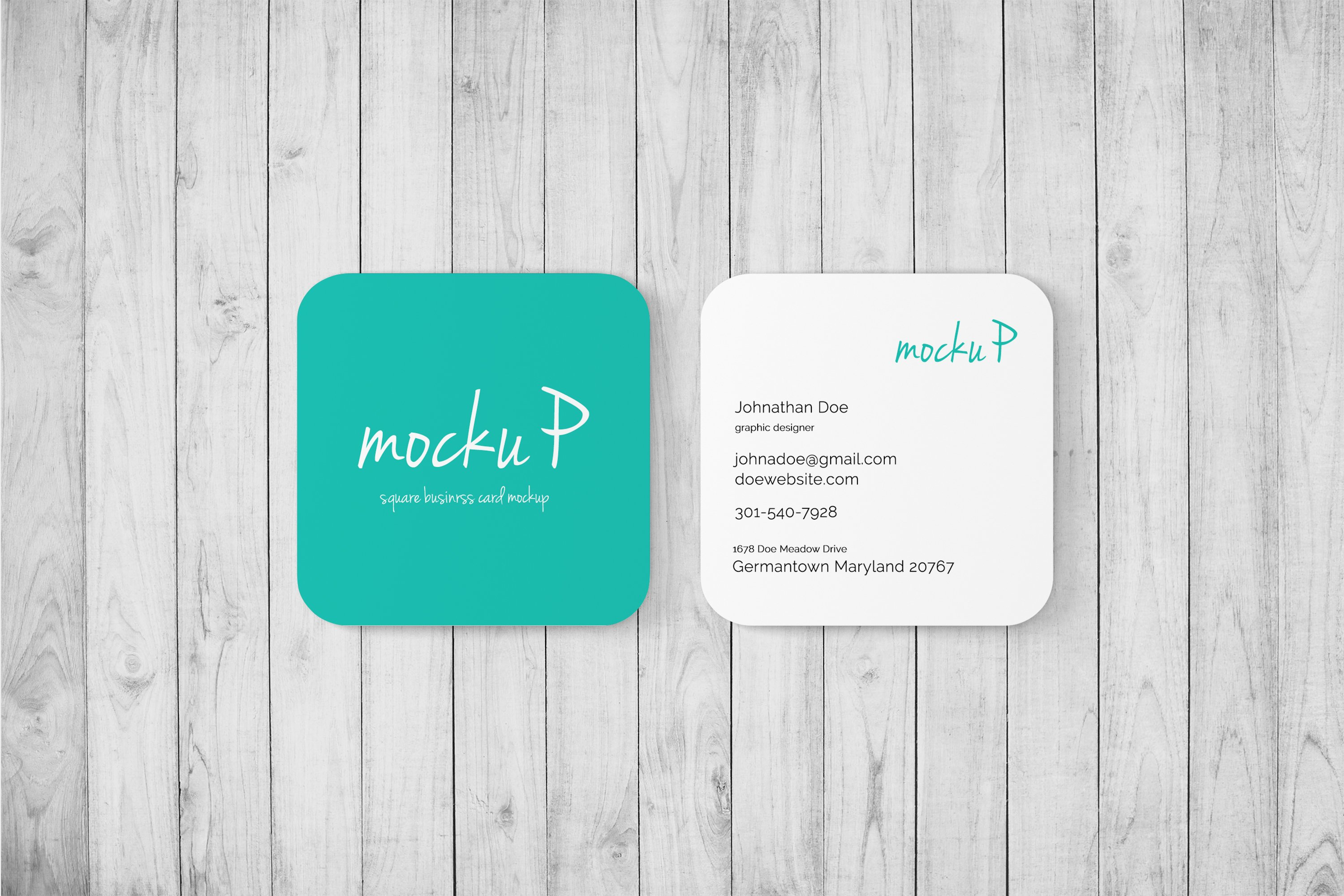Square business card rounded cor product mockups creative market reheart