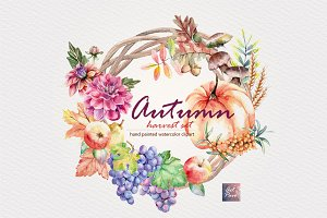 Watercolor Autumn Harvest set