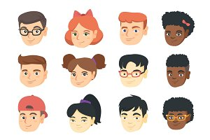 Vector set of kids smiley emoji cartoons.