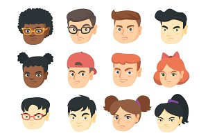 Vector set of kids angry emoji cartoons.
