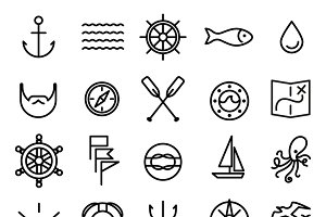 Nautical and sea line icons set