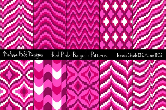 Red Pink Bargello Patterns