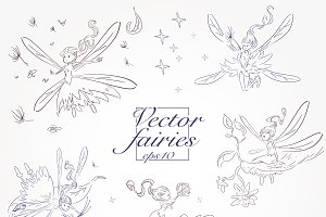 set of hand drawn fairies